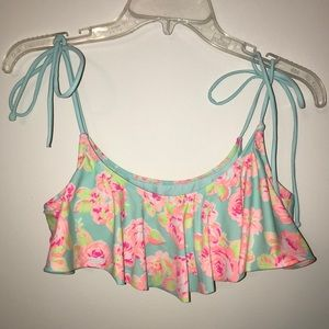 VS PINK Blue & Pink Floral Bikini Top Size Large